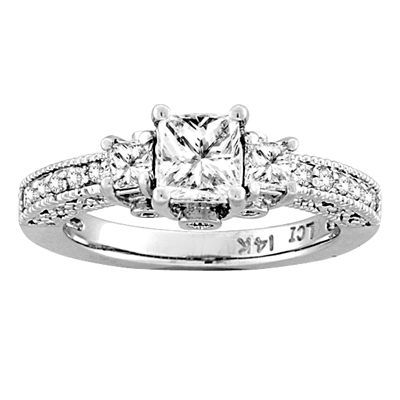 View 1.33ct tw Diamond Three Stone Princess Cut Engagement Ring