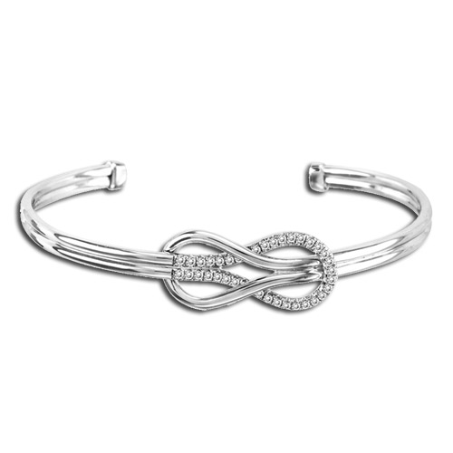 0.02cttw Diamond Sterling Silver Infinity Bangle