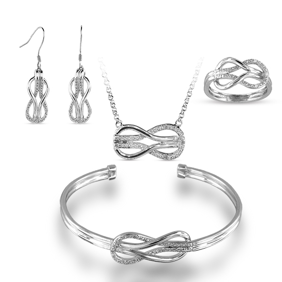 View Sterling Silver Diamond Accent Infinity Set Ring (finger sizes 5,6,7,8 only), Earring, Bangle, Necklace