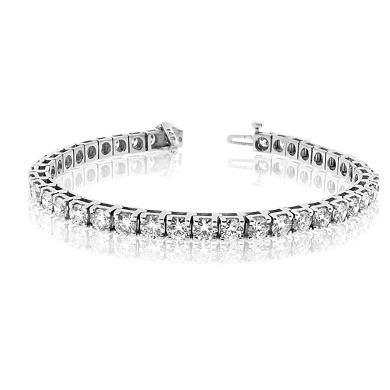View 2.00ct Diamond Tennis Bracelet 14k Gold Four Prong Setting Double Safety Lock H-J SI-I Quality