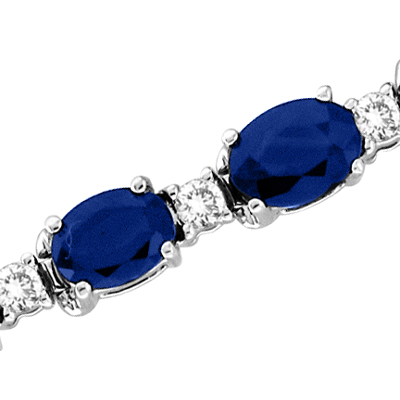 View 18.10cttw Diamond & Oval Shape Sapphire Bracelet 7 Inch 14k Gold Double Safety Lock H-J SI-I Quality