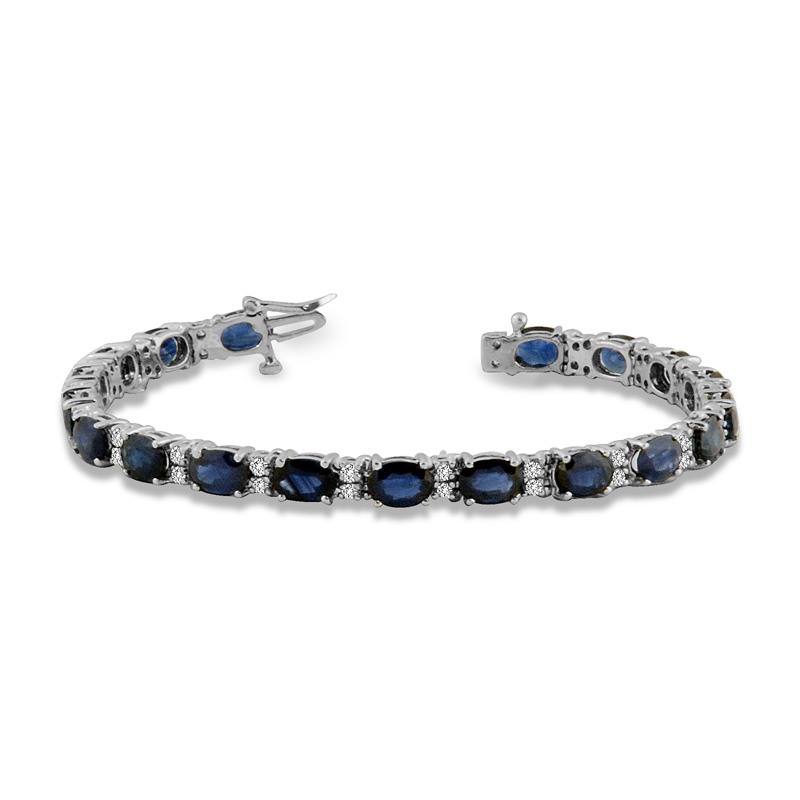 View 18.00ct tw Diamond & Oval Shape Sapphire Bracelet  7 Inch 14k Gold Double Safety Lock H-J SI-I Quality