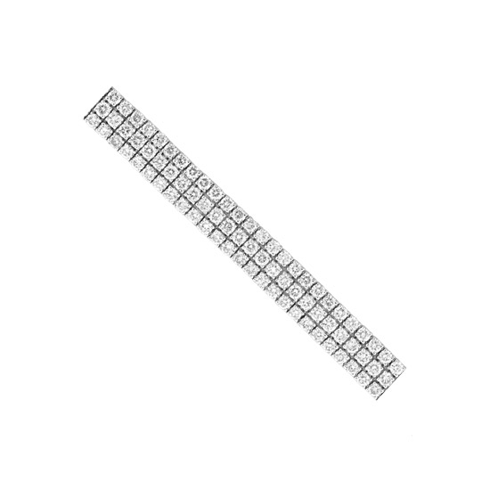 View 9.00cttw Diamond Three Row Tennis Bracelet set in 14k Gold