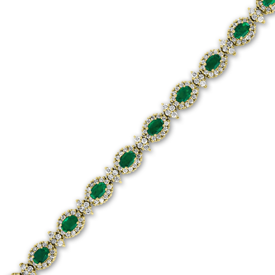 View 10.40cttw Emerald and Diamond Fashion Bracelet set in 14k Gold