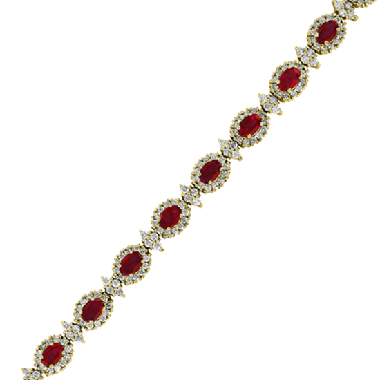 View 11.92cttw Ruby and Diamond Fashion Bracelet set in 14k Gold