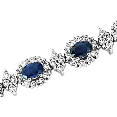 11.00ct tw Diamond & Oval Shape Sapphire Bracelet  7 Inch 14k Gold Double Safety Lock H-J SI-I Quality
