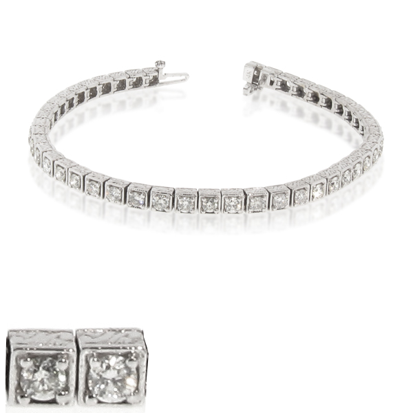 View 4.00ct tw Diamond Antique Look Tennis Bracelet 14k Gold 7 Inch