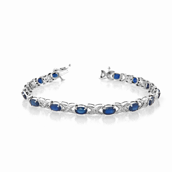 View 7.83cttw Oval 6x4 Sapphire and Diamond Bracelet set in 14k Gold