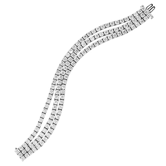 View 24.06cttw Diamond Three Row Tennis Bracelet in 14k White Gold