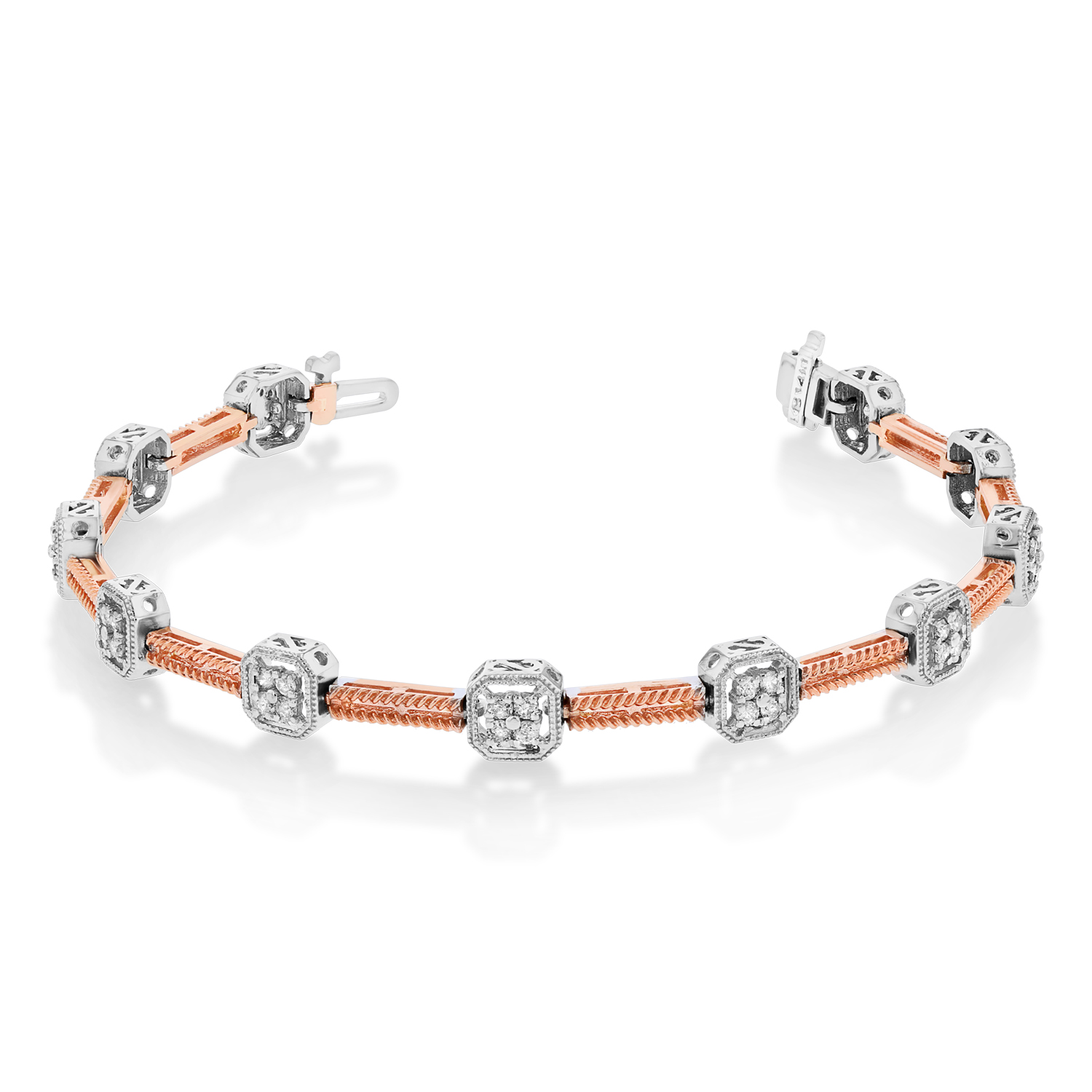 View 0.90ctw Diamond Bracelet in 14k TT Gold