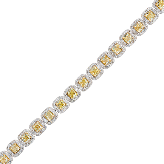 View Natural Fancy Yellow Diamond Bracelet 10ctw