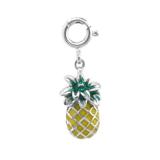 View Sterling Silver Enameled Pineapple Charm