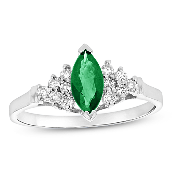 View 0.19ctw Diamond and Marquis Emerald Ring in 14k White Gold