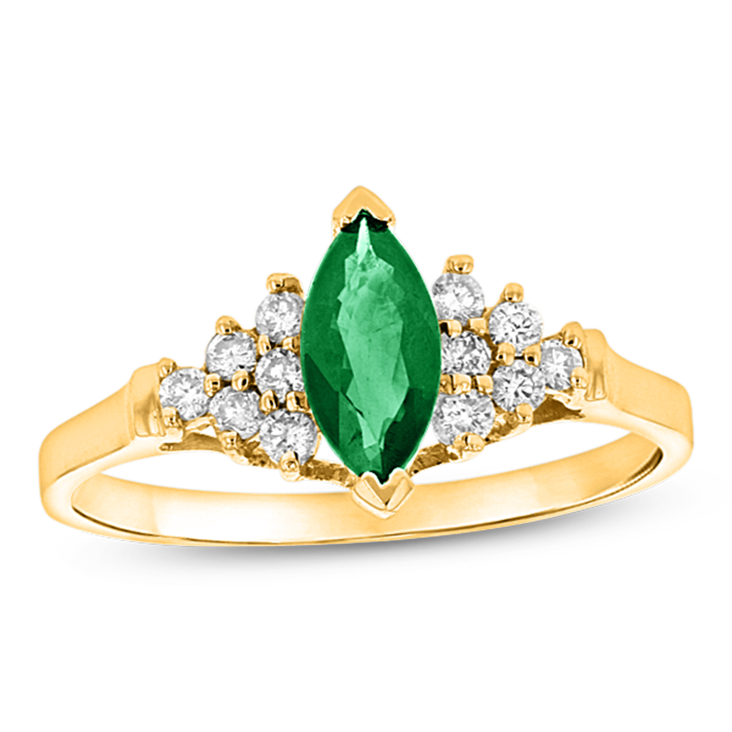 View 0.19ctw Diamond and Marquis Emerald Ring in 14k Yellow Gold