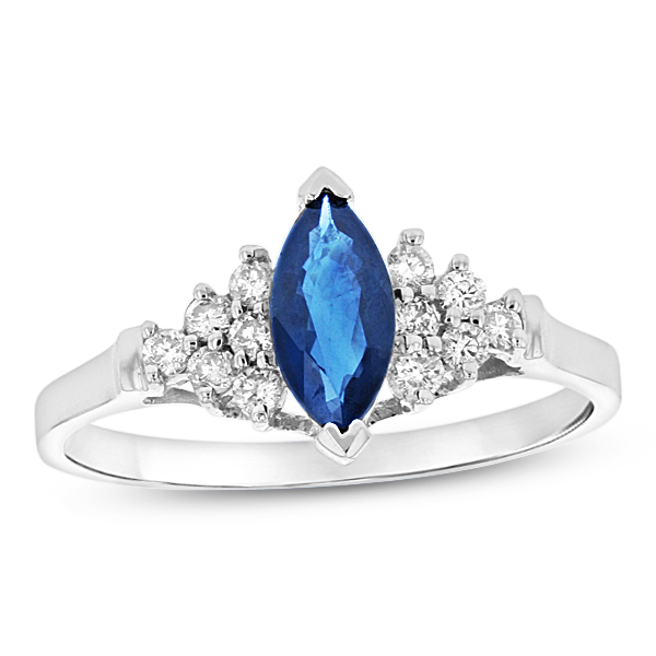 View 0.19ctw Diamond and Sapphire Marquis Ring in 14k White Gold