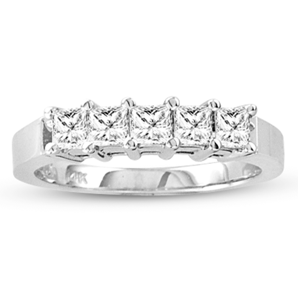 View 0.75 ct tw 5 Stone GH-VS Quality Princess Cut Diamonds Shared Prong set Anniversary or Wedding Band Bridal Ring 14k Gold