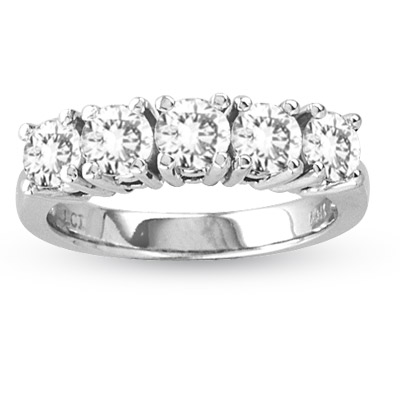 View 1.25ct tw Four Prong 5 Stone Round Diamond Anniversary or Wedding Band Bridal Ring H-I SI Quality 14k Gold