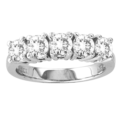 View 2.00ct  tw Four Prong 5 Stone Round Diamond Anniversary or Wedding Band Bridal Ring H-I SI Quality 14k Gold