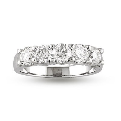 View 1.25ct tw 5 Stone Round Diamonds Shared Prong Anniversary or Wedding Band Bridal Ring H-I SI Quality 14k Gold