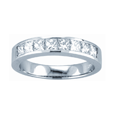View 0.50ct tw GH-VS Quality Princess Cut Diamonds Channel Set Anniversary or Wedding Band Bridal Ring 14k Gold