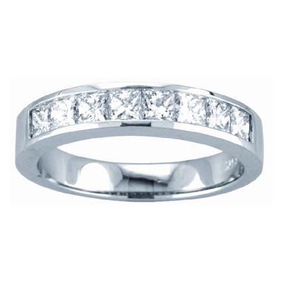 View 0.75ct tw GH-VS Quality Princess Cut Diamonds Channel Set Anniversary or Wedding Band Bridal Ring 14k Gold