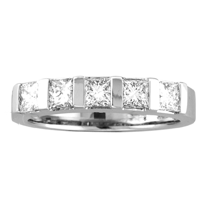View 0.50ct tw 5 Stone GH VS-SI Quality Princess Cut Diamonds Bar Set Wedding Band or Anniversary Bridal Ring 14k Gold