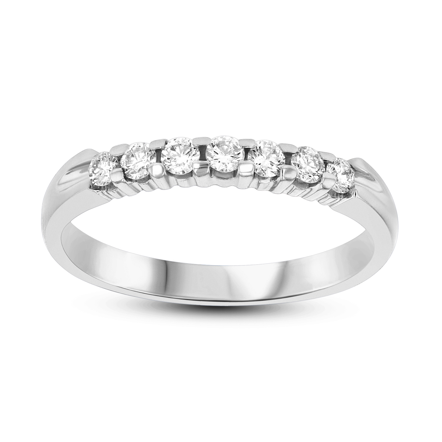 View 0.25ct tw 7 Stone Round Diamonds Shared Prong Anniversary or Wedding Band 14k Gold Bridal Ring H-J, SI