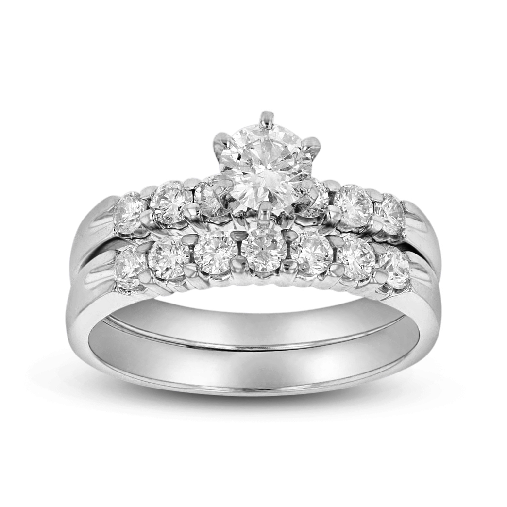View 1.00ct tw Engagement Ring and Matching Wedding Band Including Round Diamond in Center 14k Gold