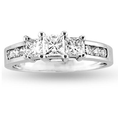 View 1.00cttw 14k Gold Princess Cut & Round Diamond Three Stone Past Present Future Anniversary/Engagement Ring HI, VS-SI Quality