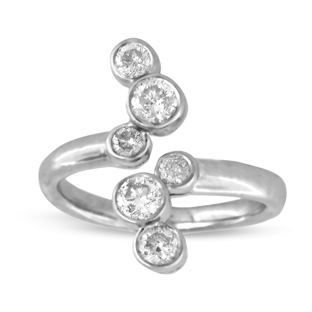 View 0.78ct tw Right Hand Contemporary Diamond Ring Set in 14k Gold