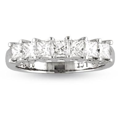 View 2.00ct tw 7 Stone Princess Cut Diamonds Shared Prong Anniversary or Wedding Band 14k  Gold G-H VS-SI Bridal Ring