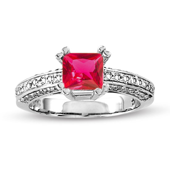 View 14k White Gold Ring with 1.01ct Square Cut Gem Quality Ruby and 0.50ct tw of Round Diamonds