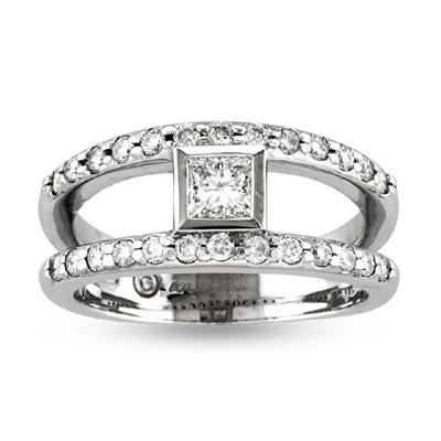 View 0.75ct tw Princess Cut Center & Round Diamond Split Shank Engagement Ring