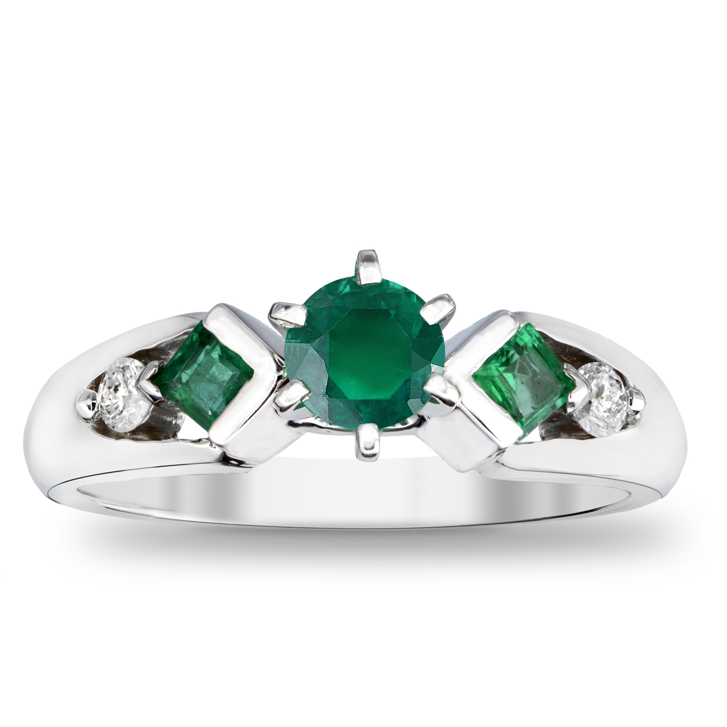 View 0.80cttw Emerald and Diamond Engagement Ring in 14k Gold