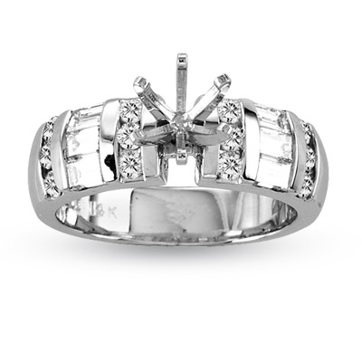 View 14k Gold Engagement Semi-Mount Ring with 1.00 ct tw of Baguette & Round Diamonds