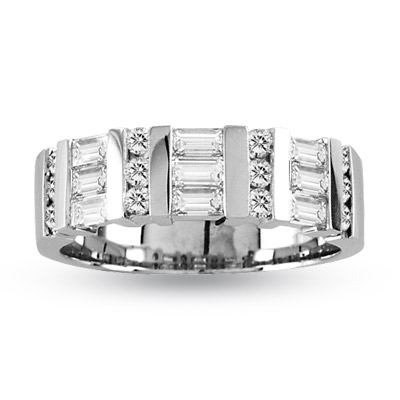 View 1.00ct tw Baguetes and Round Diamonds 14k Gold Wedding or Anniversary Band