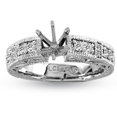 View 14k Gold Engagement Semi-Mount Ring with 0.30 ct tw of Diamond