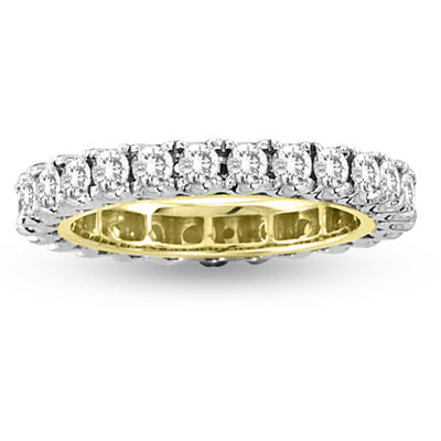 View 1.50ct tw Two Tone All Around Eternity Diamond Band Bridal 14k Gold Ring