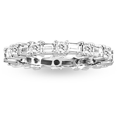 View 1.50ct tw Round & Baguette Diamonds All Around Eternity Band 14k Gold Bridal Ring