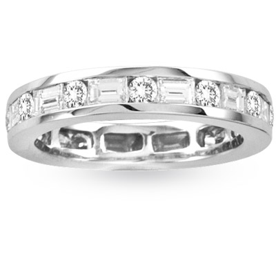 View 1.75ct Round & Baguette Diamonds All Around Eternity Band 14K Gold Bridal Ring