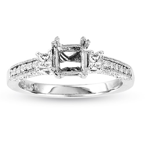 View 14k Gold Semi Mount Engagement Ring with 0.40cts of Diamonds (hold a 1.00ct Princess Cut Center)