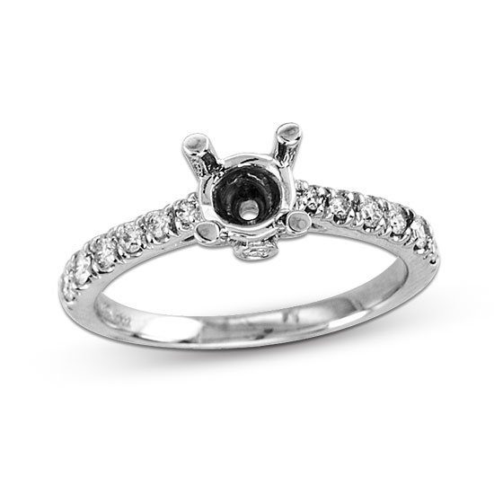 View 14k Gold Semi- Mount Engagement Ring with 0.25ct of Diamonds (can hold 0.50ct-0.75ct)
