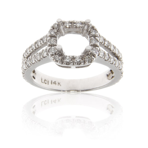 View 14k Gold Engagement Ring with 0.70ct of Diamonds ( can hold 1.00ct center)