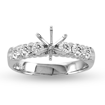 View 14k Gold Engagement Semi-Mount Ring with 0.65ct tw of Round Diamonds