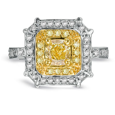 View 1.25 ct tw  Natural Fancy Yellow Diamond Fashion Engagement Ring 18k Two Tone Gold