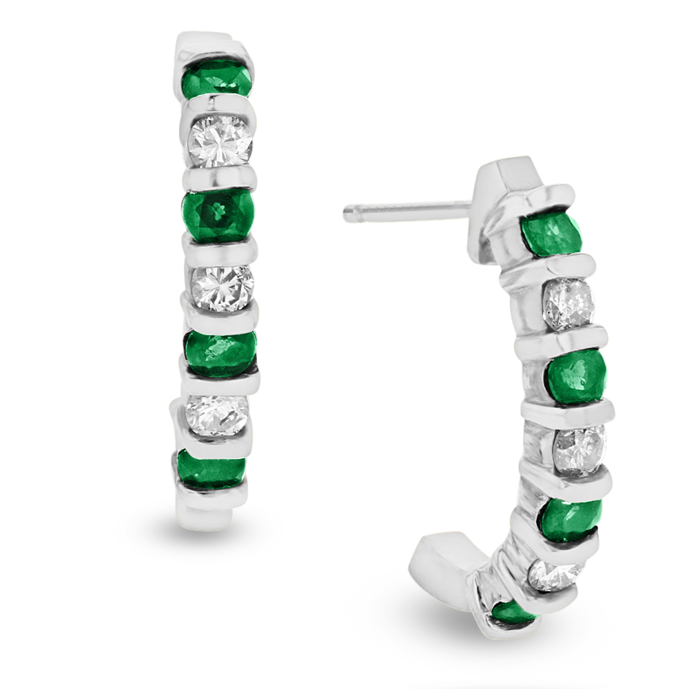 View 0.35ctw Diamond and Emerald J Hoop Earrings in 14k White Gold