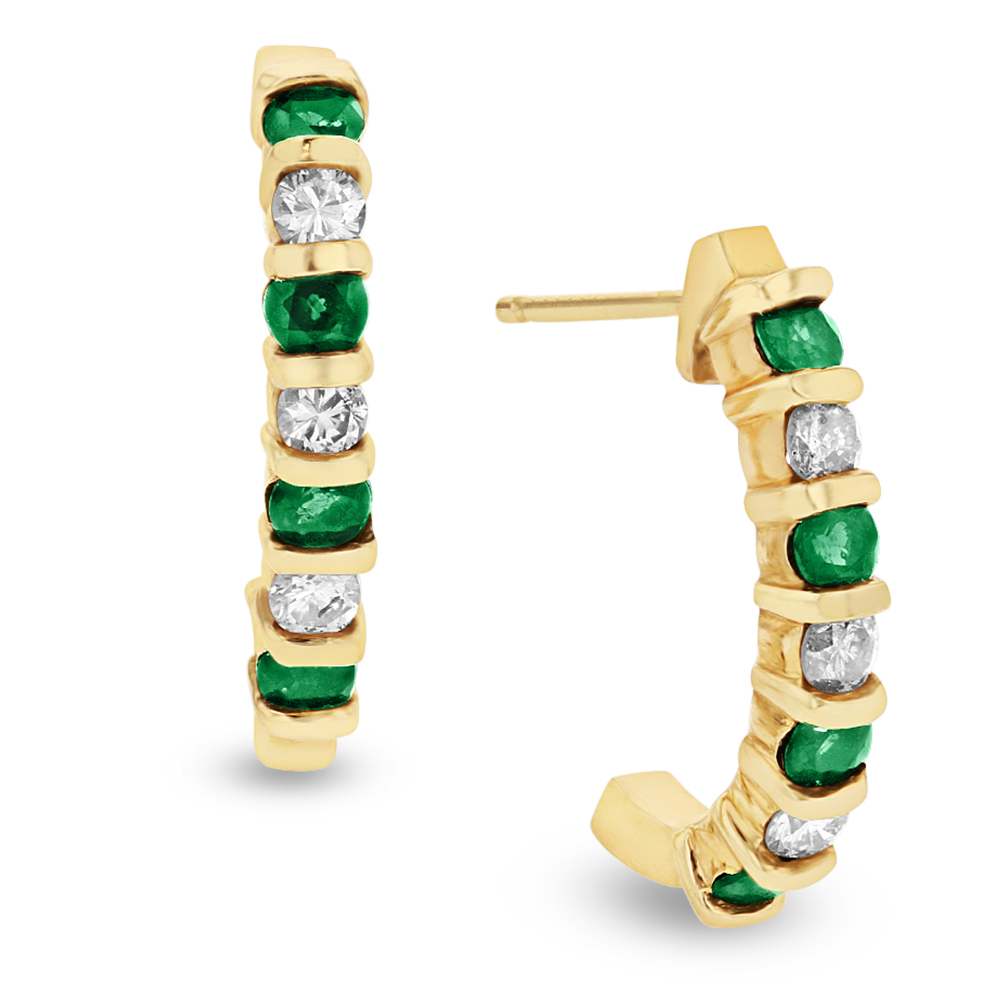 View 0.35ctw Diamond and Emerald J Hoop Earrings in 14k Yellow Gold