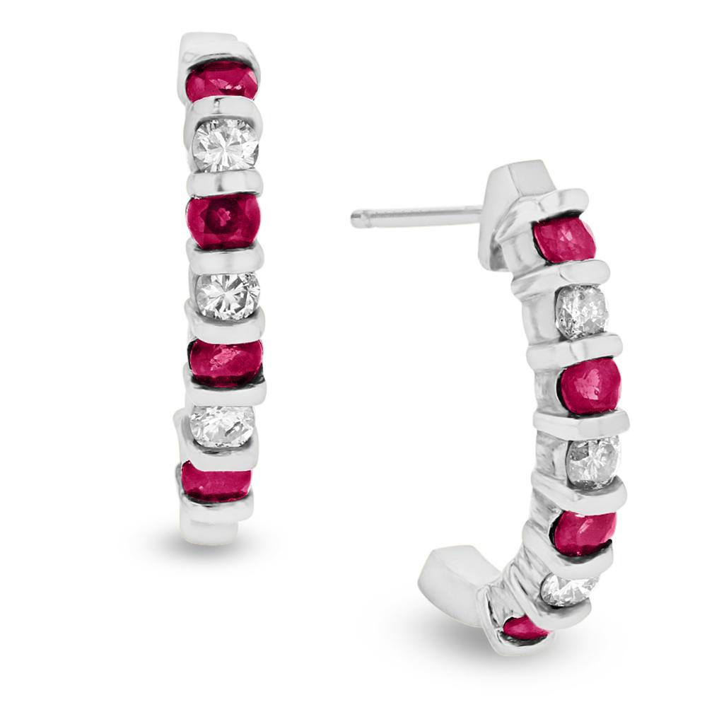 View 0.35ctw Diamond and Ruby J Hoop Earrings in 14k White Gold