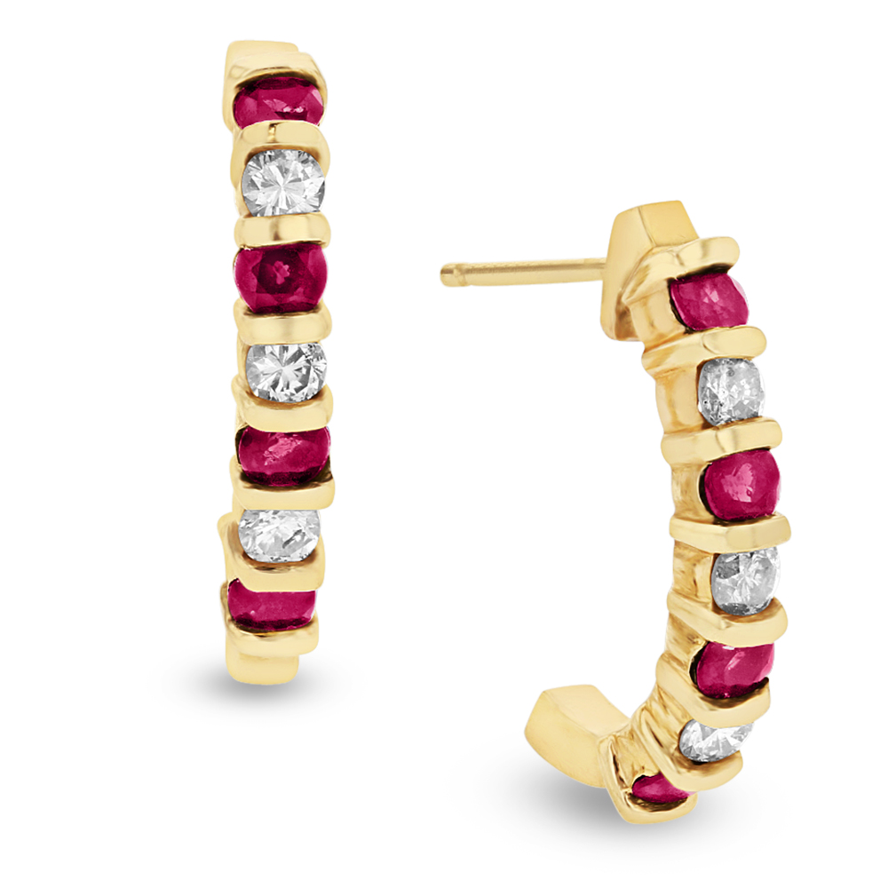 View 0.35ctw Diamond and Ruby J Hoop Earrings in 14k Yellow Gold