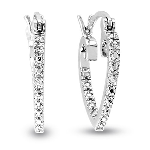 View Silver Diamond Accent Heart hoop Earring